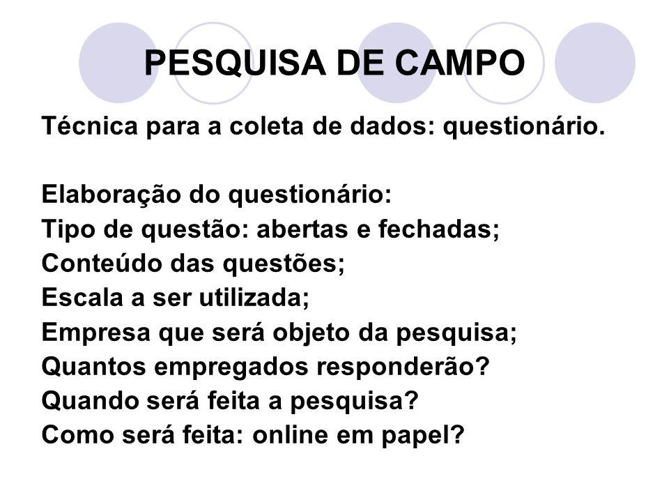 PESQUISA DE CAMPO Técnica para a coleta de dados: questionário.