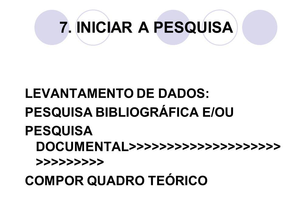 7. INICIAR A PESQUISA LEVANTAMENTO DE DADOS: