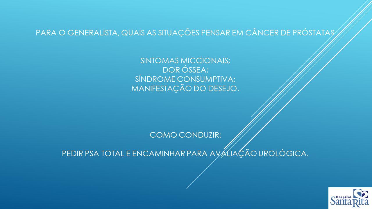 Para o generalista, quais as situações pensar em câncer de próstata