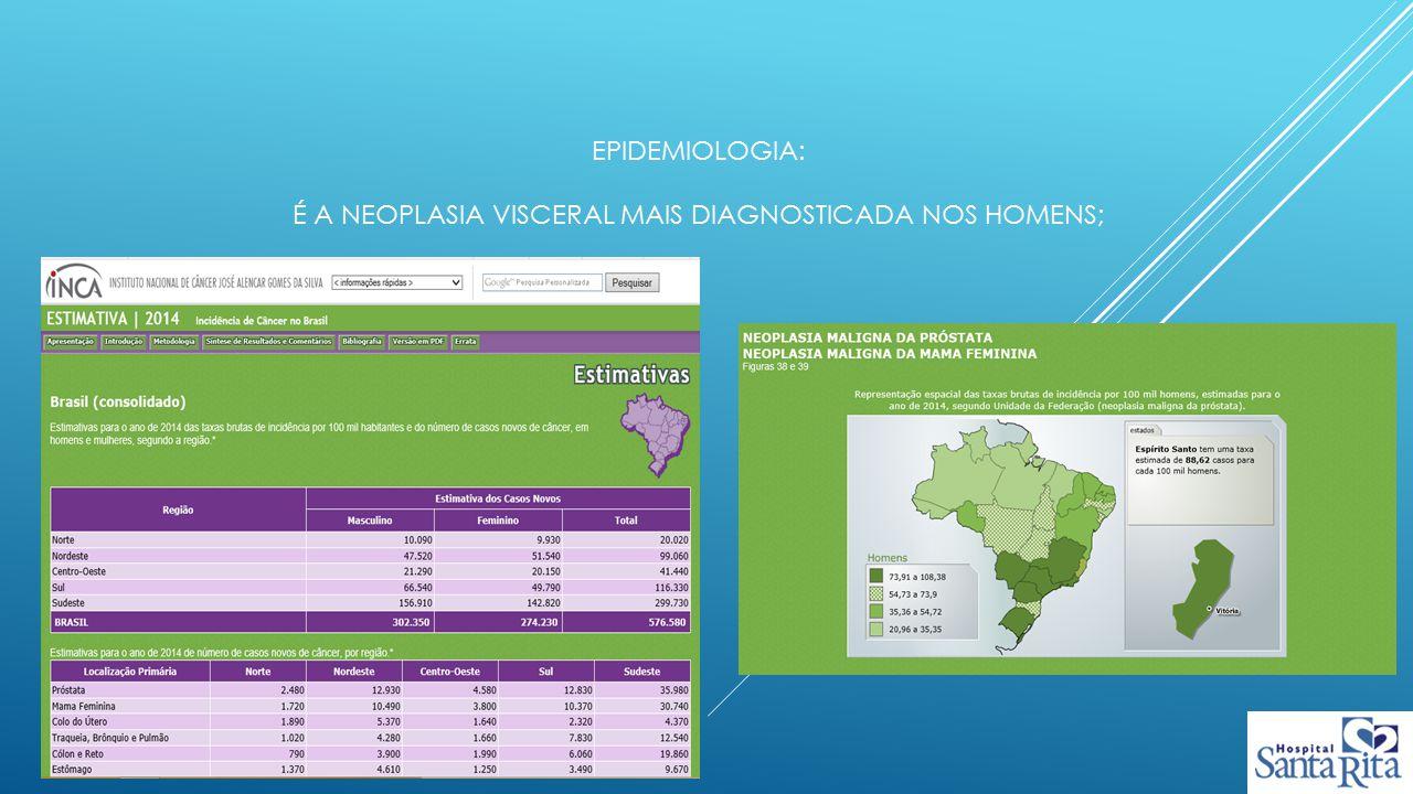 Epidemiologia: é a neoplasia visceral mais diagnosticada nos homens;