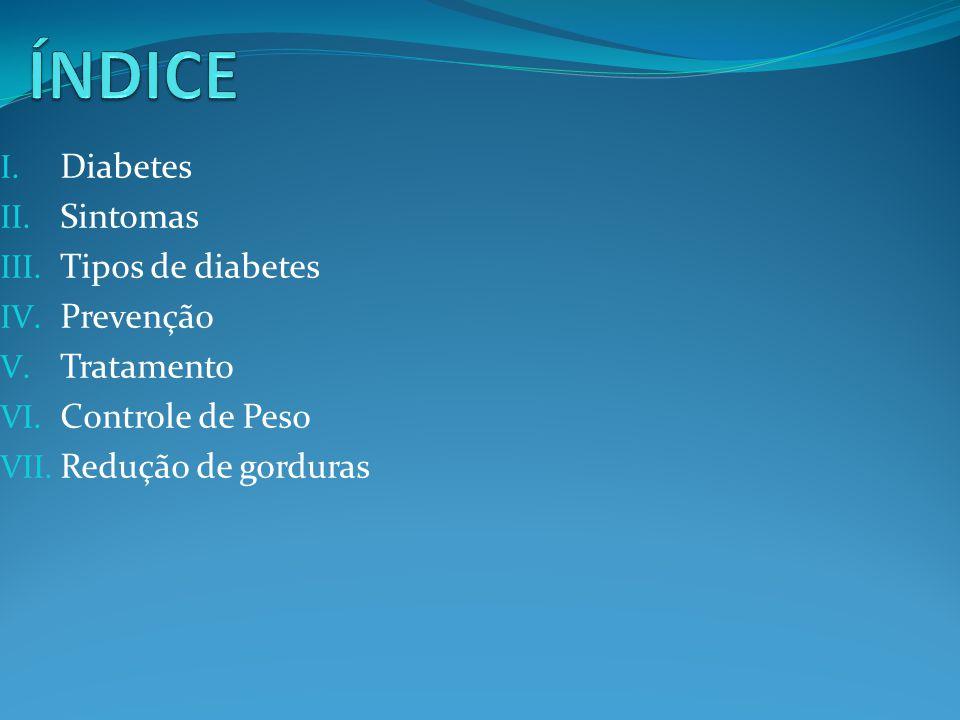 ÍNDICE Diabetes Sintomas Tipos de diabetes Prevenção Tratamento
