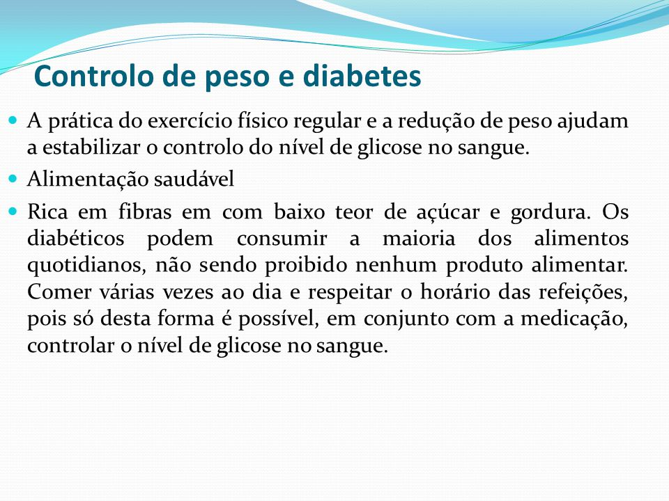 Controlo de peso e diabetes