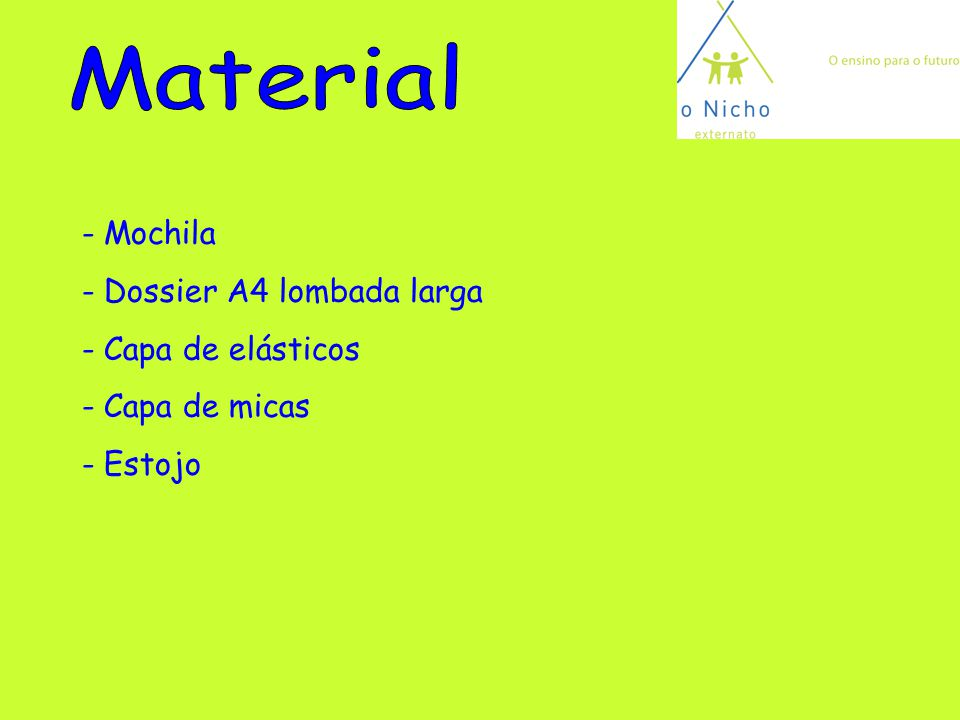 Material Mochila Dossier A4 lombada larga Capa de elásticos