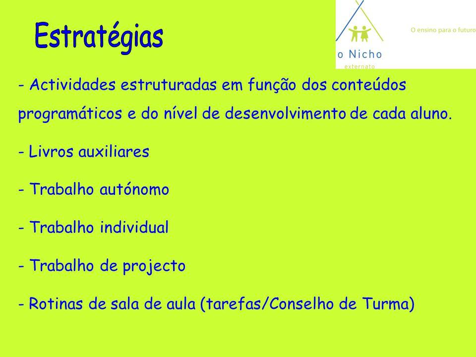 Estratégias Actividades estruturadas em função dos conteúdos programáticos e do nível de desenvolvimento de cada aluno.