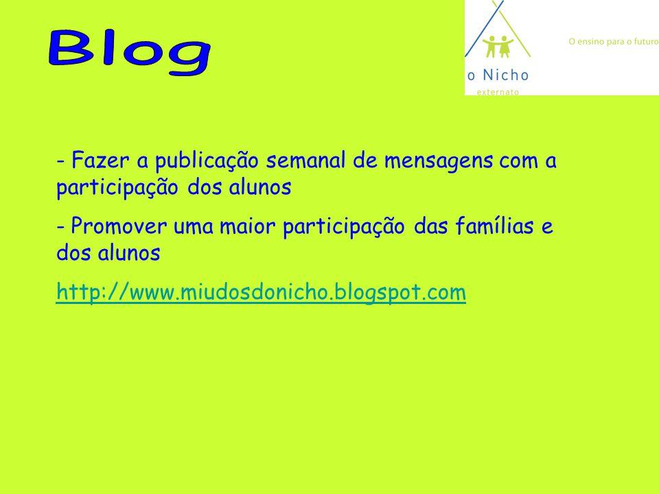 Blog Fazer a publicação semanal de mensagens com a participação dos alunos. Promover uma maior participação das famílias e dos alunos.