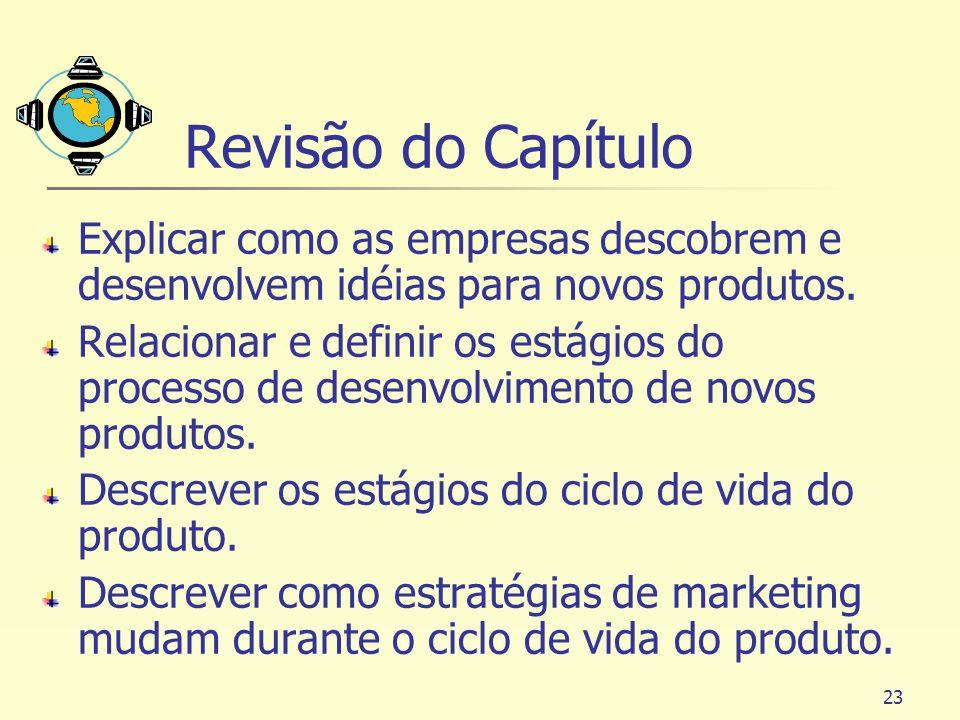Revisão do Capítulo Explicar como as empresas descobrem e desenvolvem idéias para novos produtos.