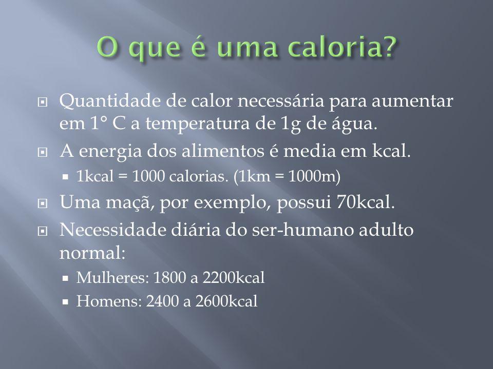O que é uma caloria Quantidade de calor necessária para aumentar em 1° C a temperatura de 1g de água.