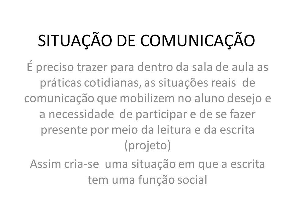 SITUAÇÃO DE COMUNICAÇÃO