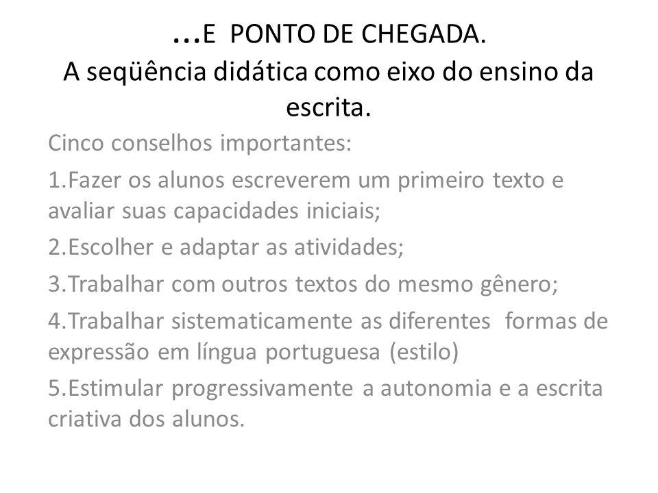 ...E PONTO DE CHEGADA. A seqüência didática como eixo do ensino da escrita.