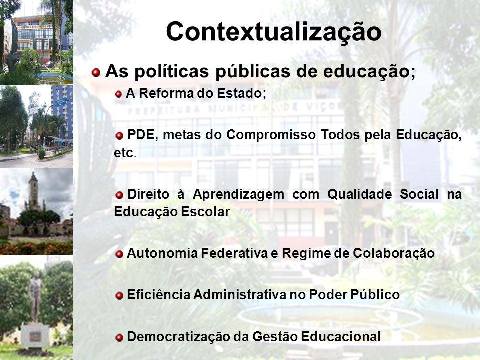 Contextualização As políticas públicas de educação;