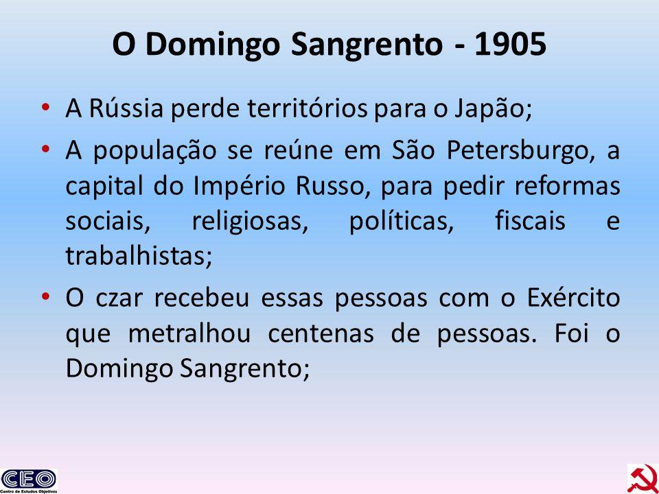 O Domingo Sangrento - 1905 A Rússia perde territórios para o Japão;