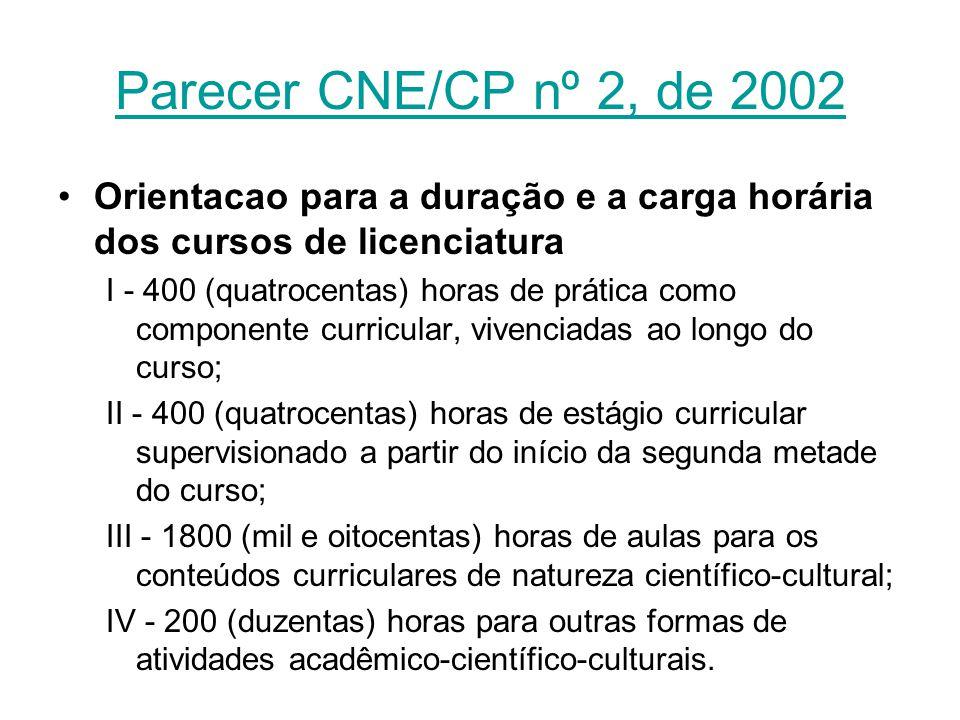 Parecer CNE/CP nº 2, de 2002 Orientacao para a duração e a carga horária dos cursos de licenciatura.