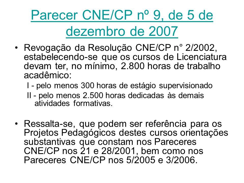 Parecer CNE/CP nº 9, de 5 de dezembro de 2007