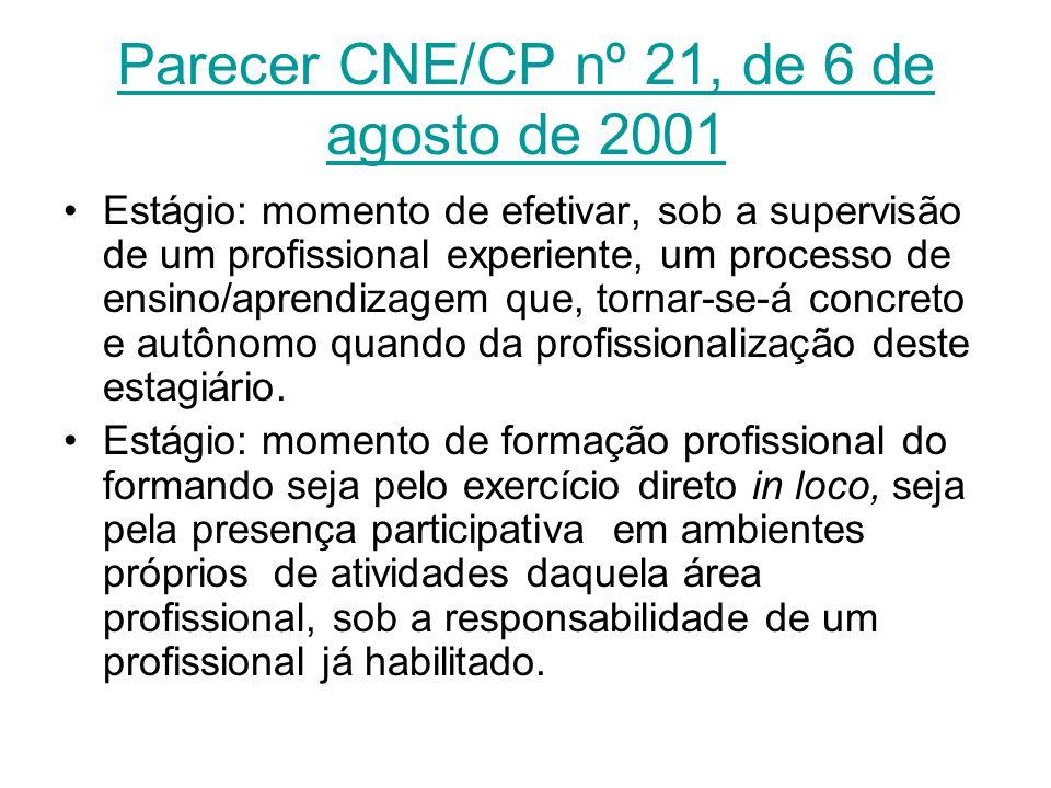 Parecer CNE/CP nº 21, de 6 de agosto de 2001
