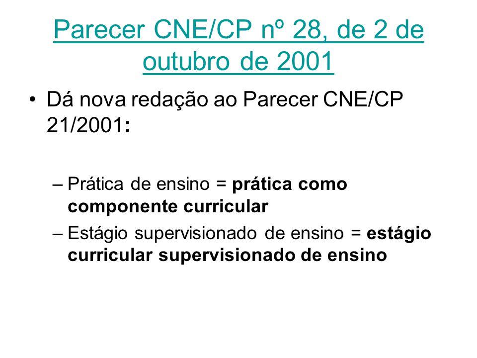 Parecer CNE/CP nº 28, de 2 de outubro de 2001