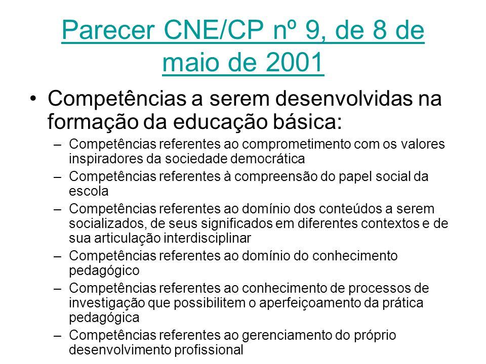 Parecer CNE/CP nº 9, de 8 de maio de 2001
