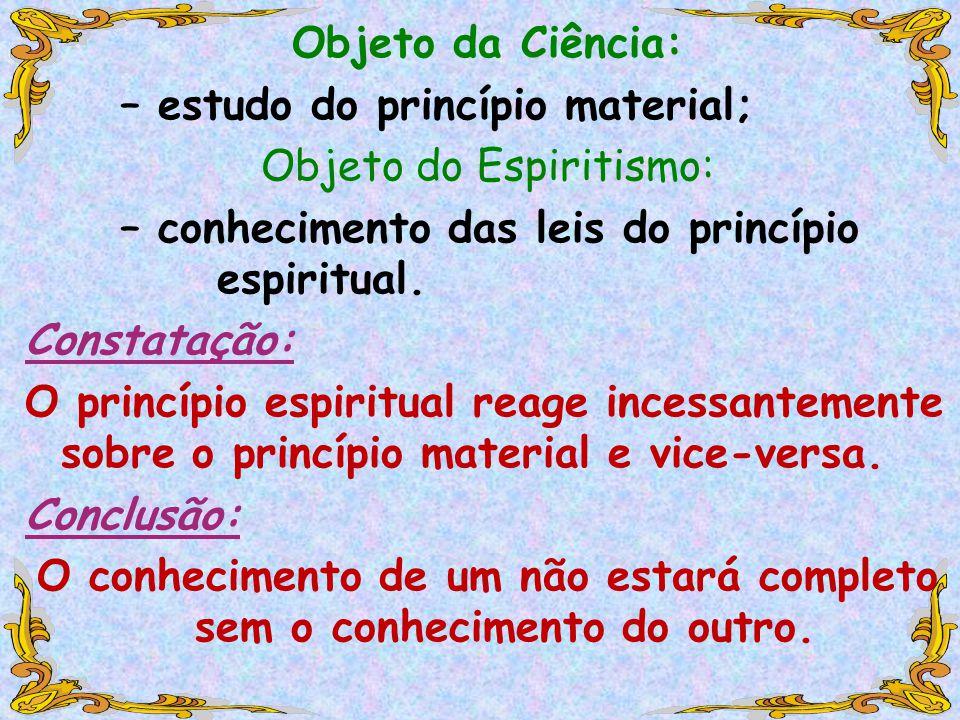 Objeto da Ciência: – estudo do princípio material; Objeto do Espiritismo: – conhecimento das leis do princípio espiritual.