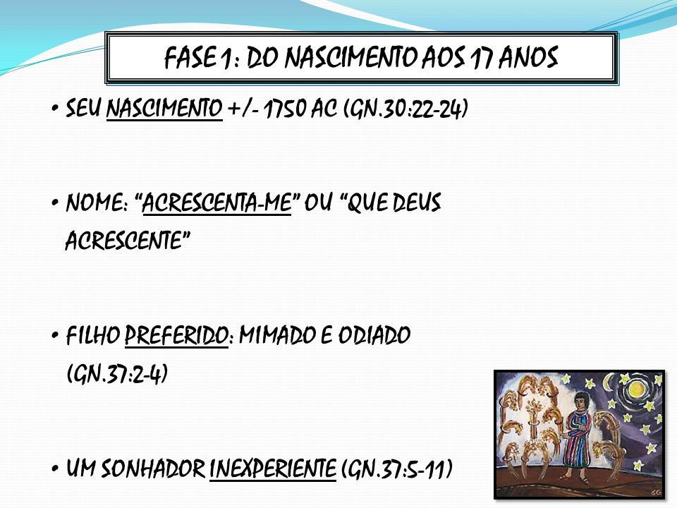 FASE 1: DO NASCIMENTO AOS 17 ANOS