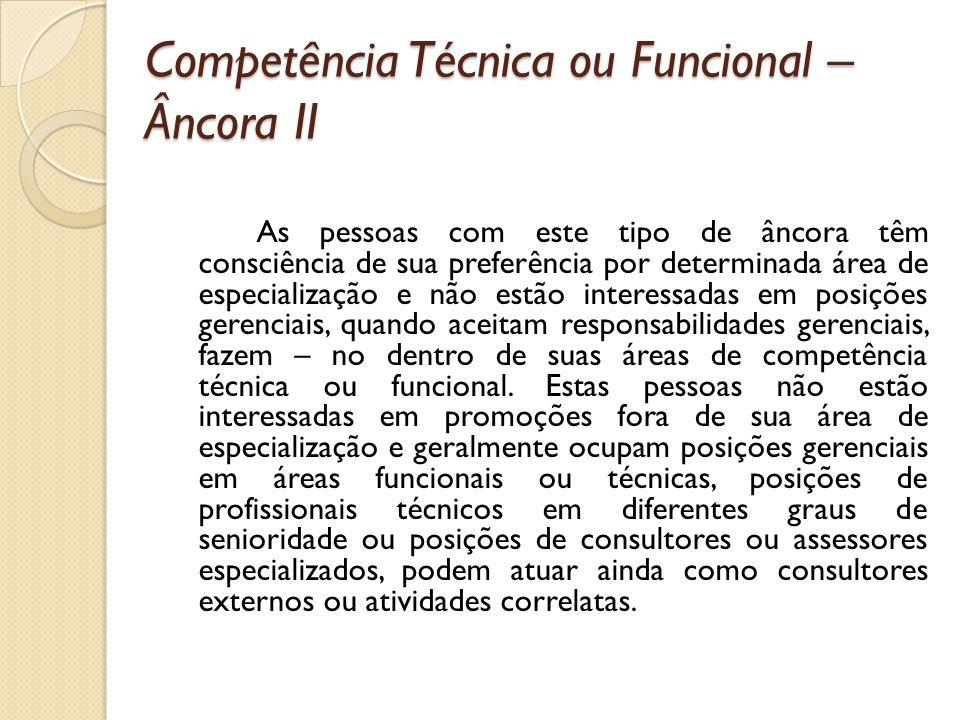 Competência Técnica ou Funcional – Âncora II