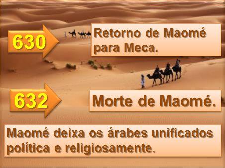 630 632 Morte de Maomé. Retorno de Maomé para Meca.
