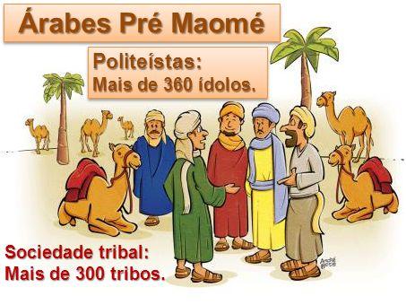 Árabes Pré Maomé Politeístas: Mais de 360 ídolos. Sociedade tribal: