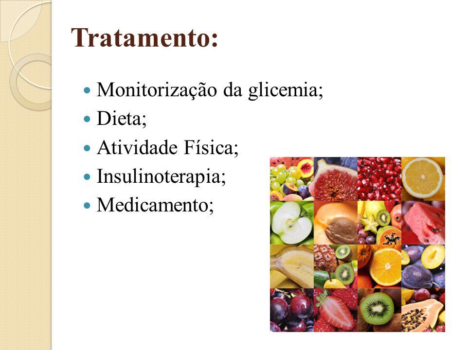 Tratamento: Monitorização da glicemia; Dieta; Atividade Física;
