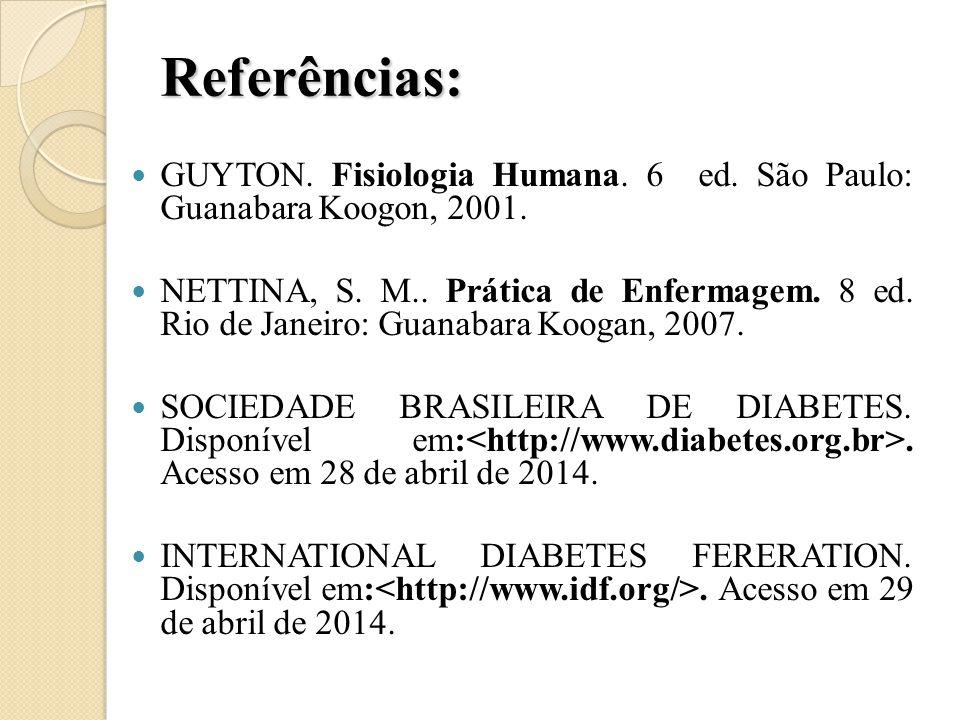 Referências: GUYTON. Fisiologia Humana. 6 ed. São Paulo: Guanabara Koogon, 2001.