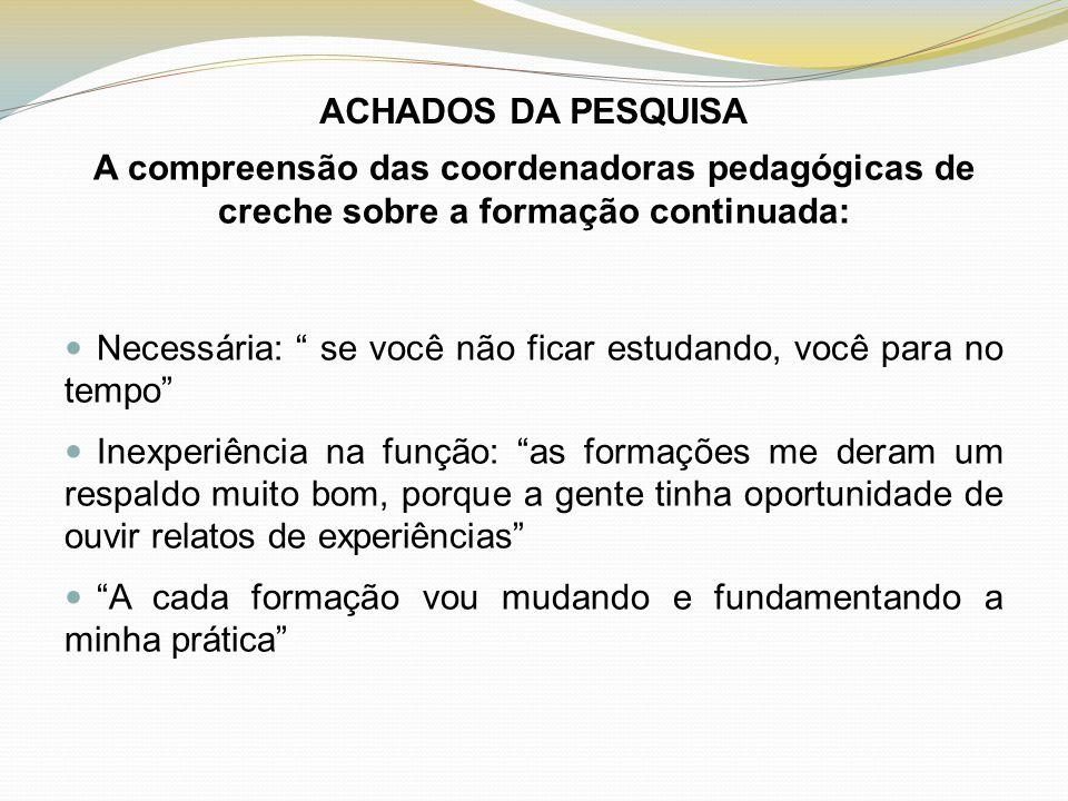 ACHADOS DA PESQUISA A compreensão das coordenadoras pedagógicas de creche sobre a formação continuada: