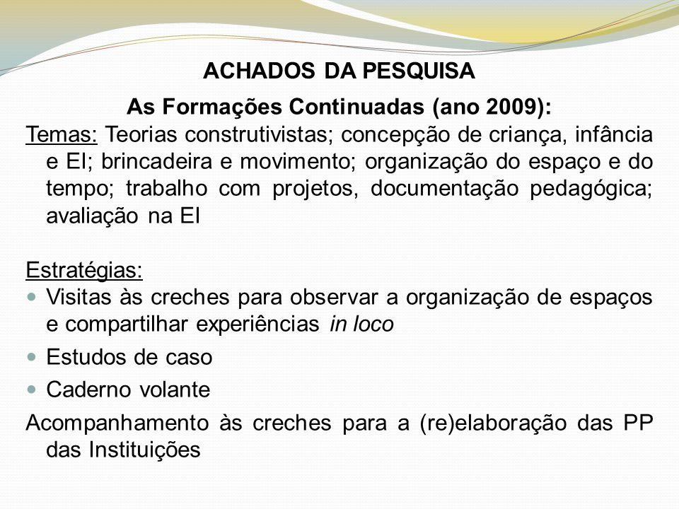 As Formações Continuadas (ano 2009):