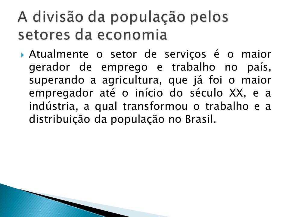 A divisão da população pelos setores da economia