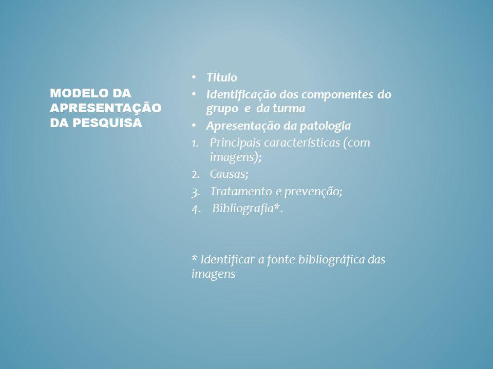Modelo da apresentação da pesquisa