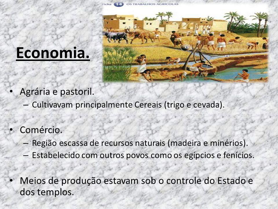 Economia. Agrária e pastoril. Comércio.