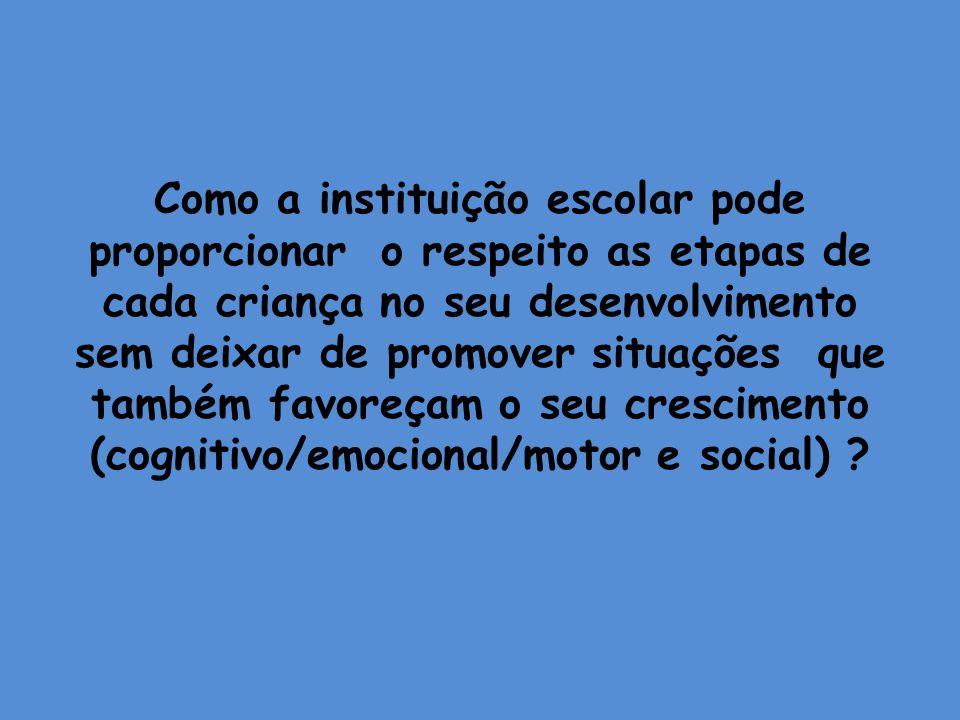 Como a instituição escolar pode proporcionar o respeito as etapas de cada criança no seu desenvolvimento sem deixar de promover situações que também favoreçam o seu crescimento (cognitivo/emocional/motor e social)