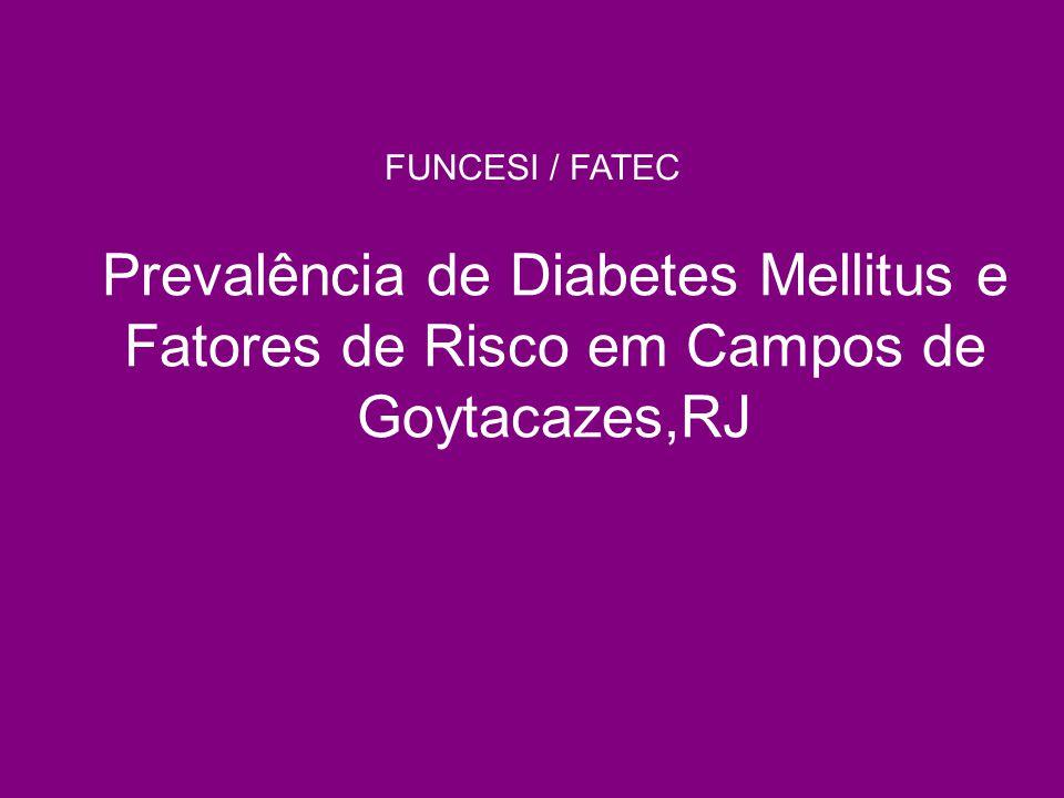 FUNCESI / FATEC Prevalência de Diabetes Mellitus e Fatores de Risco em Campos de Goytacazes,RJ. Antes de começar: