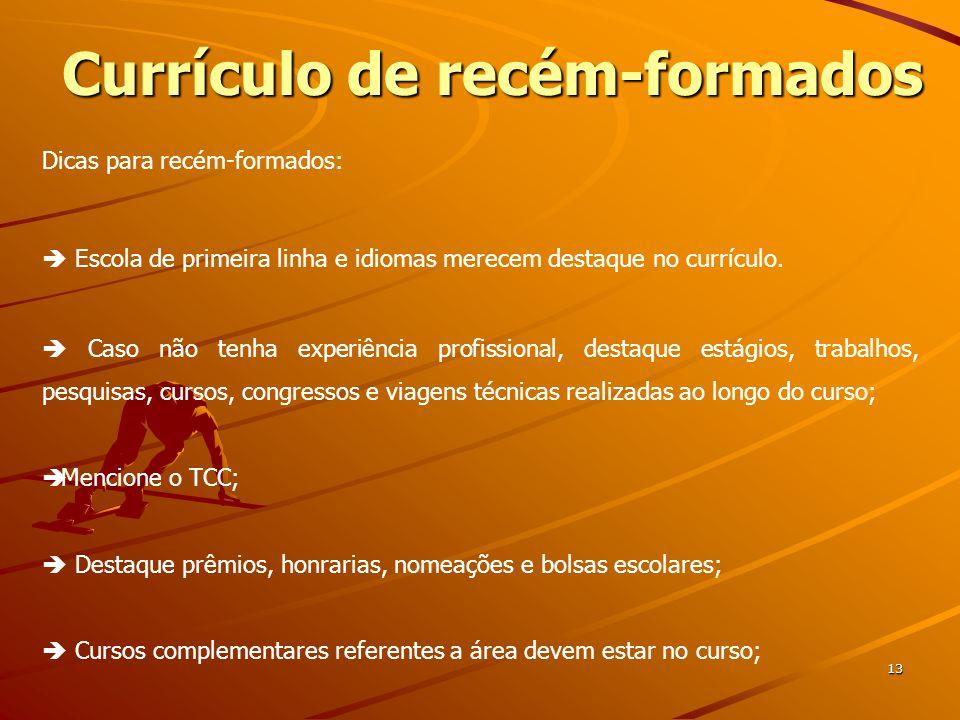 Currículo de recém-formados