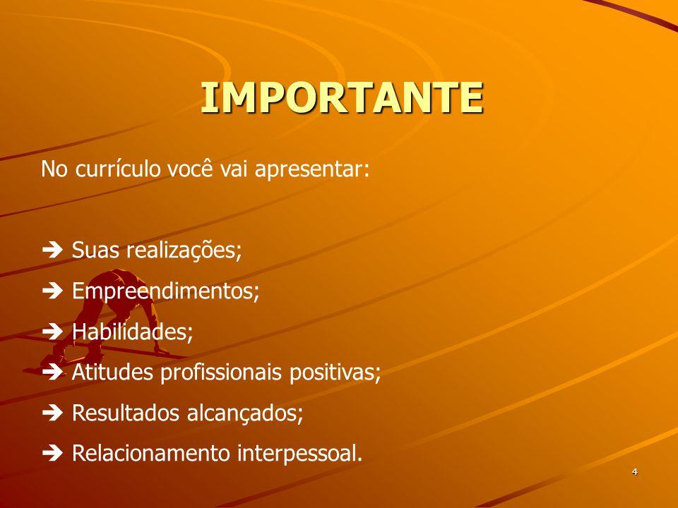 IMPORTANTE No currículo você vai apresentar:  Suas realizações;