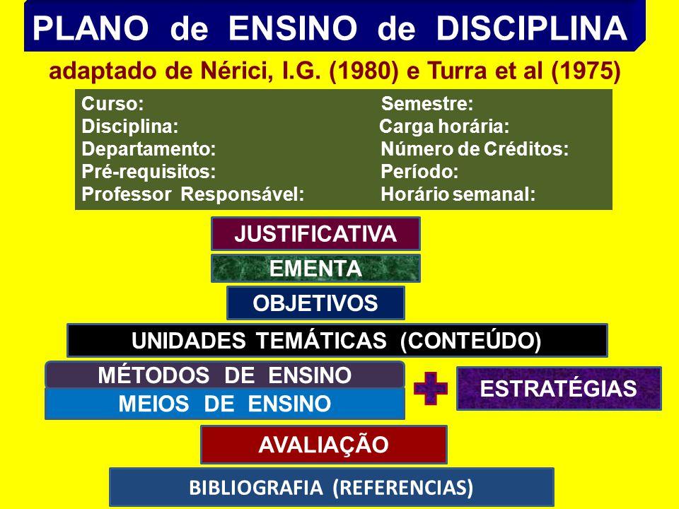 PLANO de ENSINO de DISCIPLINA