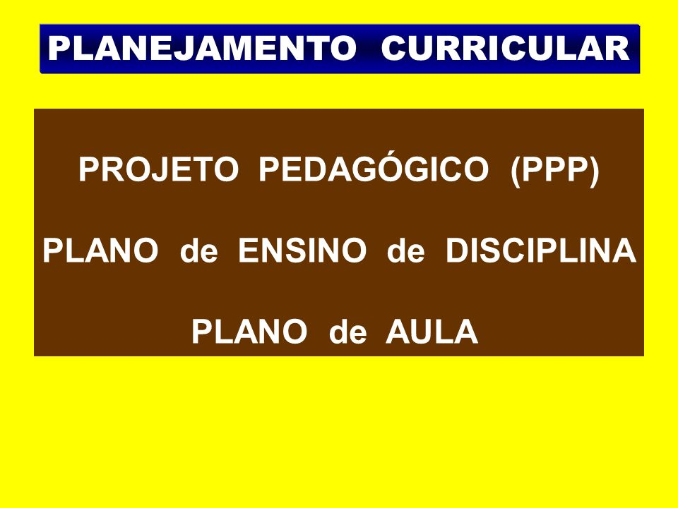 PROJETO PEDAGÓGICO (PPP) PLANO de ENSINO de DISCIPLINA