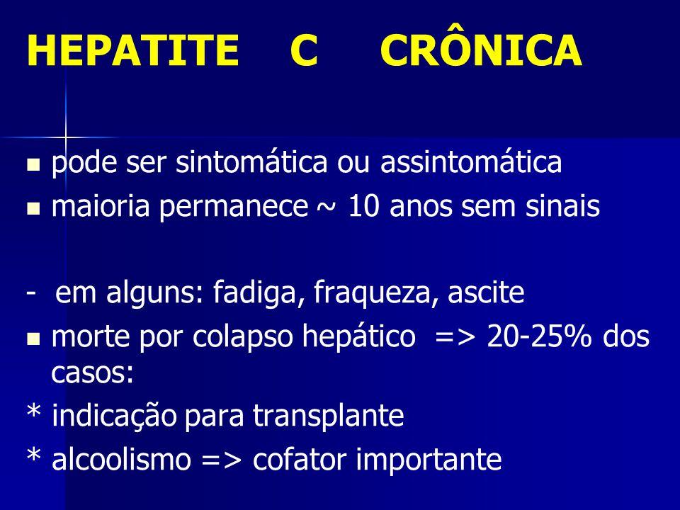 HEPATITE C CRÔNICA pode ser sintomática ou assintomática