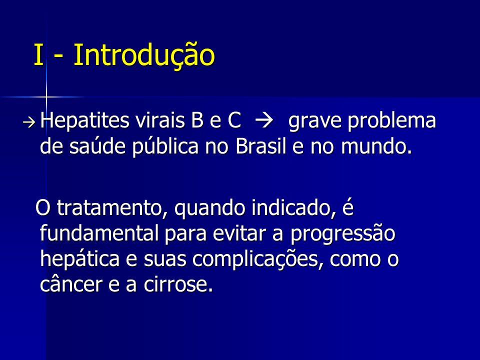 I - Introdução Hepatites virais B e C  grave problema de saúde pública no Brasil e no mundo.