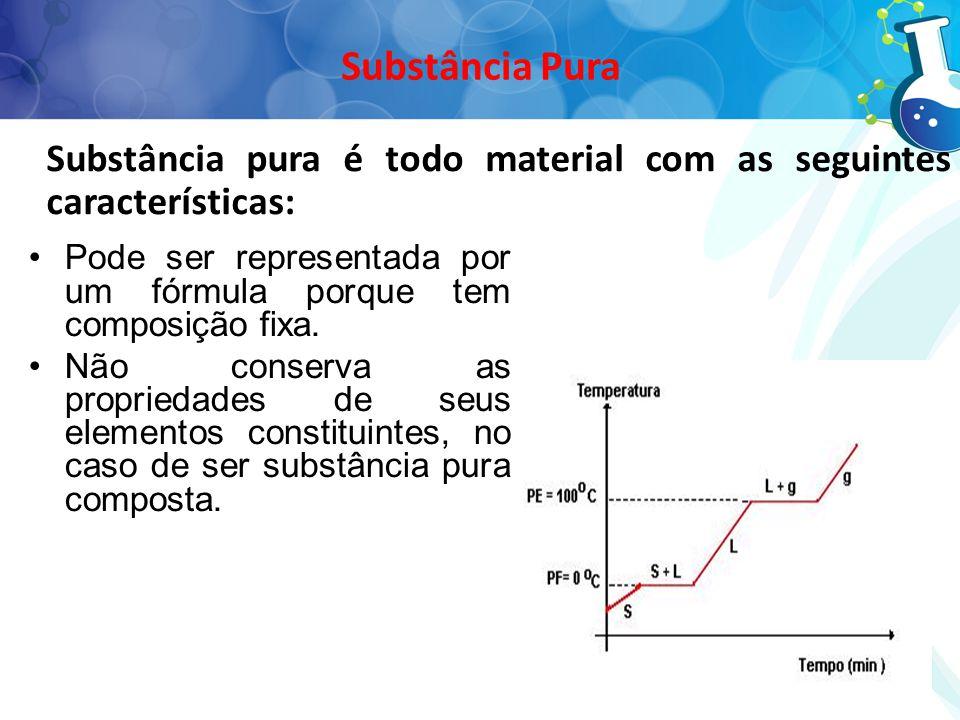Substância Pura Substância pura é todo material com as seguintes características: Pode ser representada por um fórmula porque tem composição fixa.