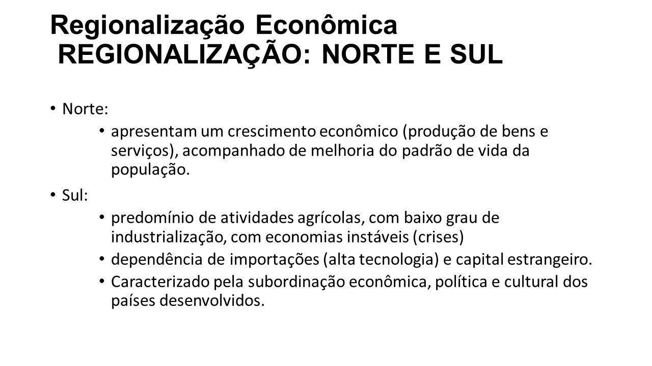 Regionalização Econômica REGIONALIZAÇÃO: NORTE E SUL
