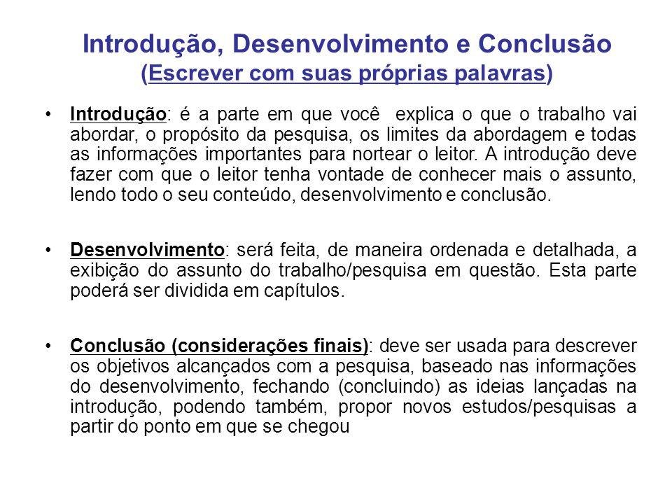 Introdução, Desenvolvimento e Conclusão