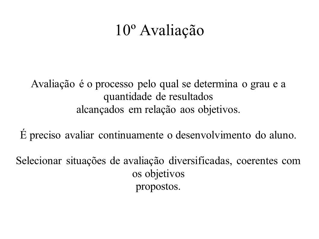 10º Avaliação Avaliação é o processo pelo qual se determina o grau e a quantidade de resultados. alcançados em relação aos objetivos.
