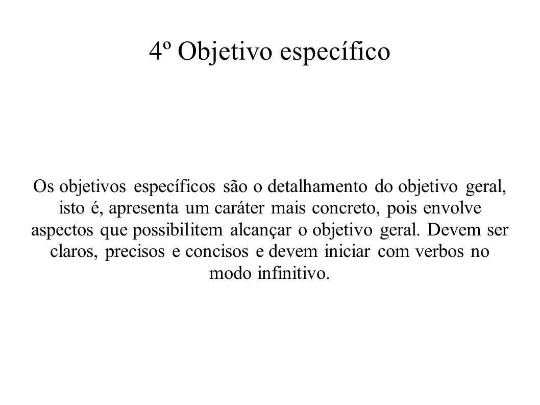 4º Objetivo específico
