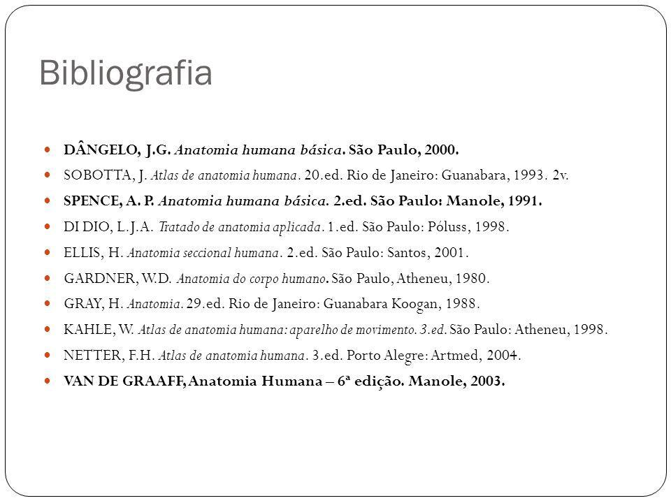 Bibliografia DÂNGELO, J.G. Anatomia humana básica. São Paulo, 2000.