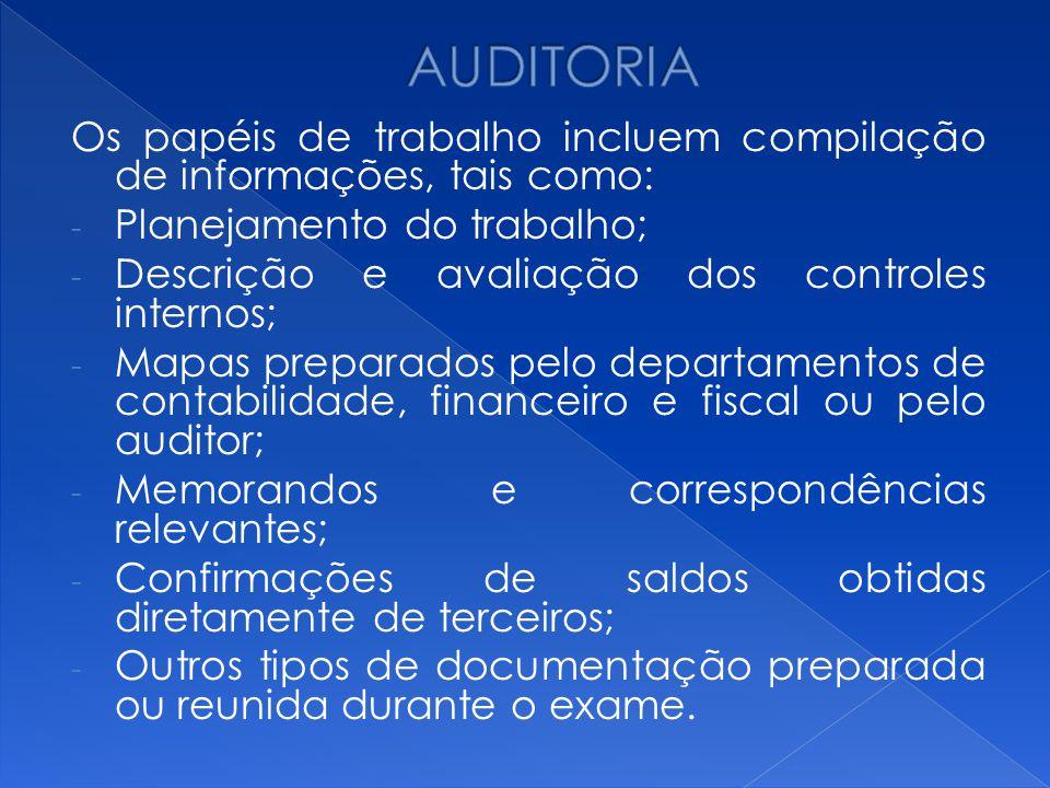 AUDITORIA Os papéis de trabalho incluem compilação de informações, tais como: Planejamento do trabalho;