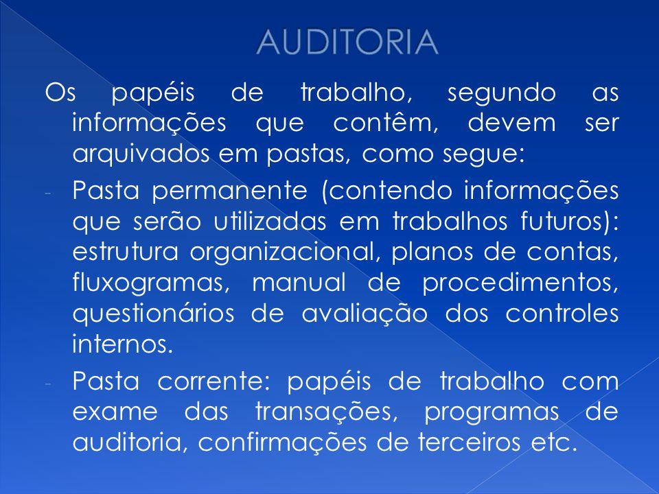 AUDITORIA Os papéis de trabalho, segundo as informações que contêm, devem ser arquivados em pastas, como segue: