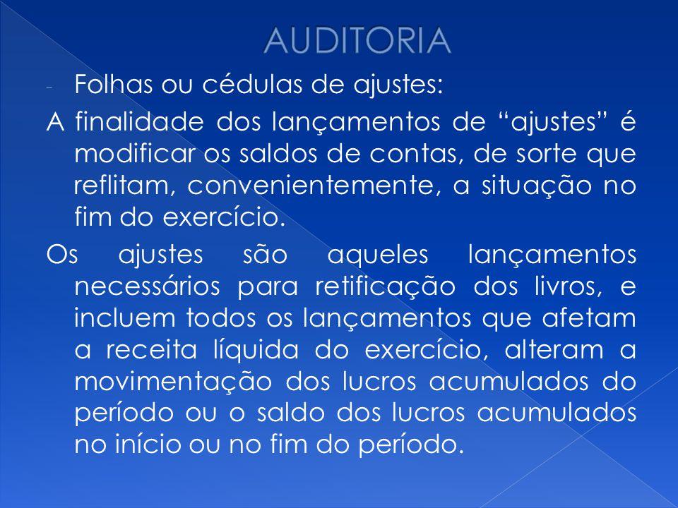 AUDITORIA Folhas ou cédulas de ajustes: