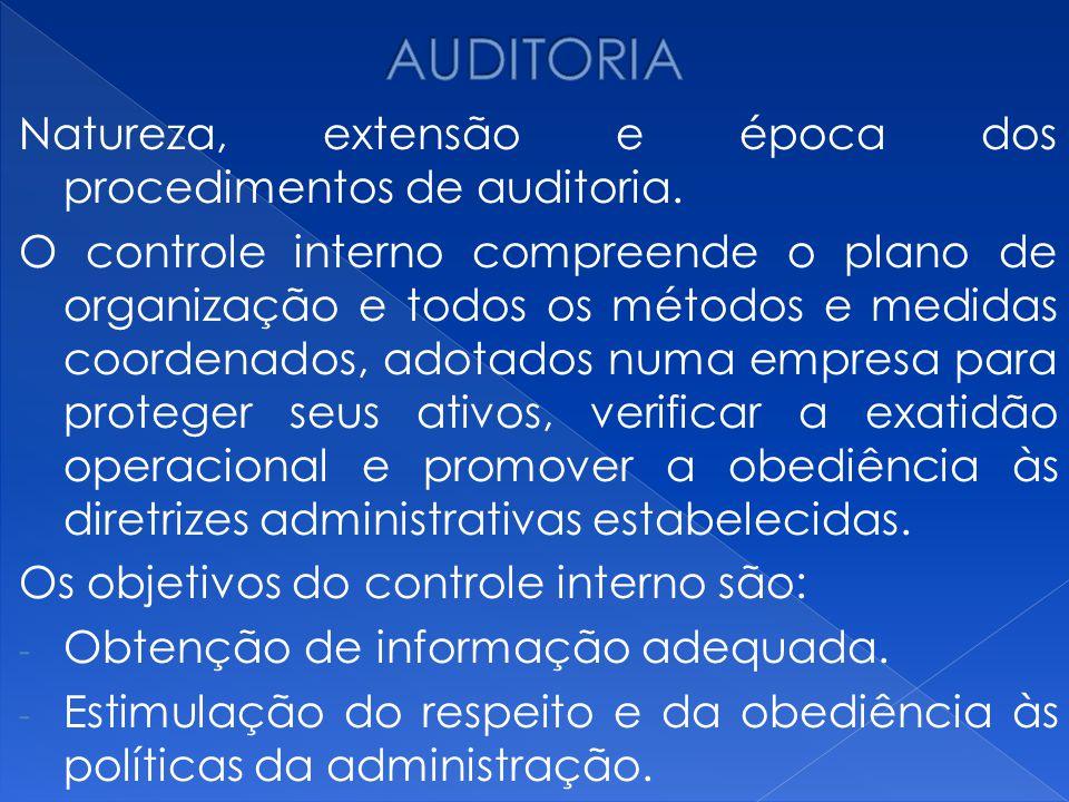 AUDITORIA Natureza, extensão e época dos procedimentos de auditoria.
